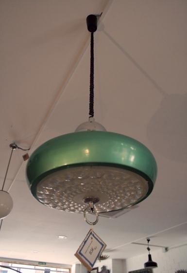 Lámpara techo extensible verde, años 70, Mù Restauración, murestauracion, mu restauracion 3